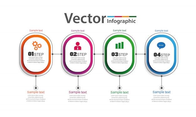 Infografica design vettoriale con 4 opzioni, passaggi o processi