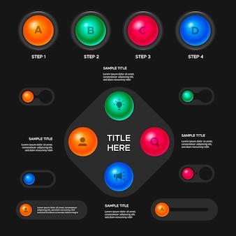 Infografica dettagliata lucida 3d
