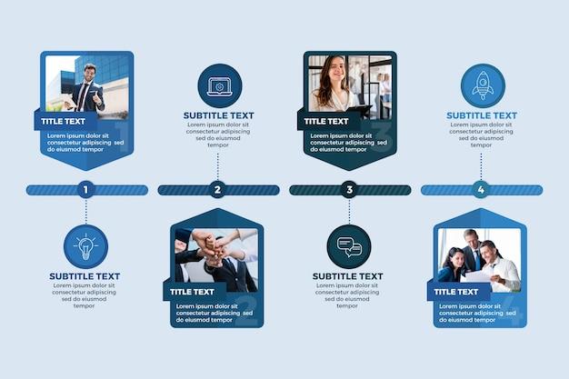 Infografica di affari con modello di foto