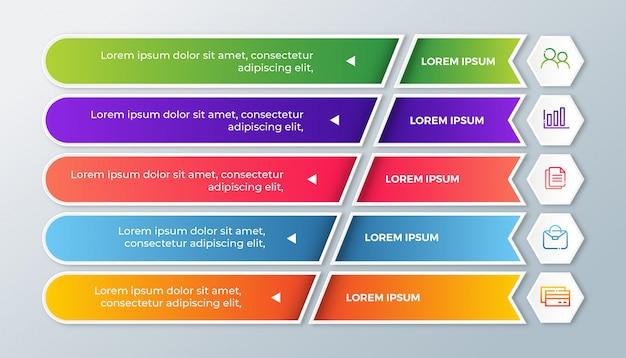 Infografica di affari con opzioni di passaggi