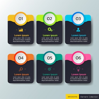 Infografica di affari con sei modello di opzioni.
