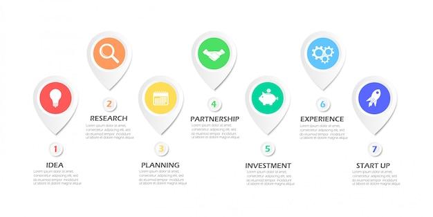 Infografica di affari. diagramma organizzativo. 7 opzioni.