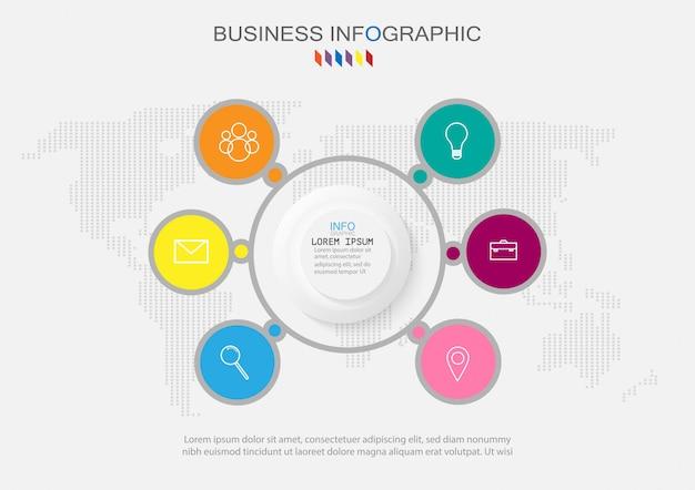 Infografica di affari organigramma con 6 opzioni.