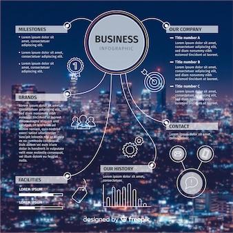 Infografica di affari piatta con foto