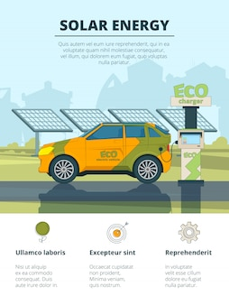Infografica di auto elettriche, eco concettuale con automobili elettroniche