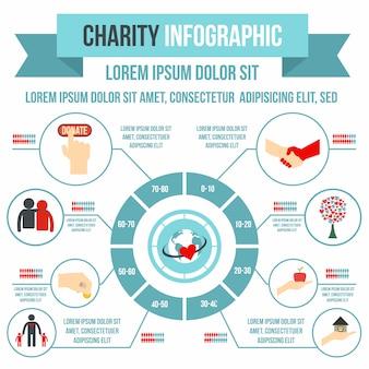 Infografica di beneficenza in stile piatto per qualsiasi design
