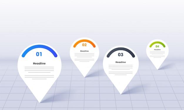 Infografica di business per powerpoint con modello di pin di posizione mappa