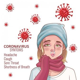 Infografica di coronavirus con carattere di donna malata