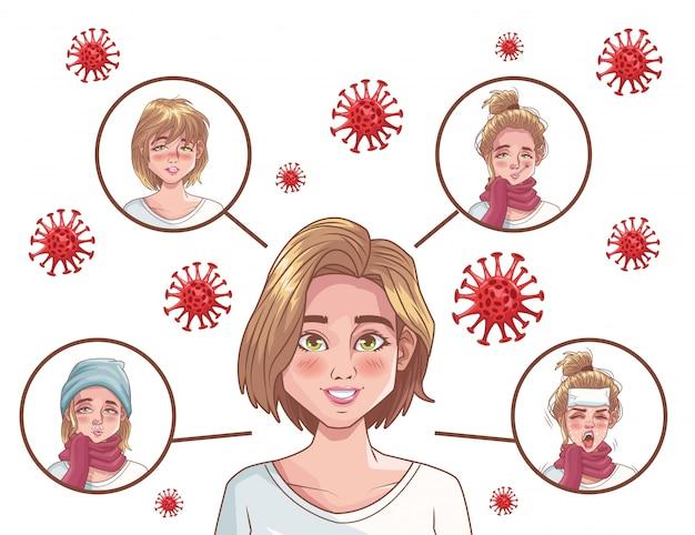 Infografica di coronavirus con personaggi di donne malate
