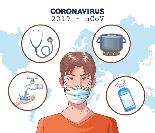 Infografica di coronavirus con uomo che usando la maschera