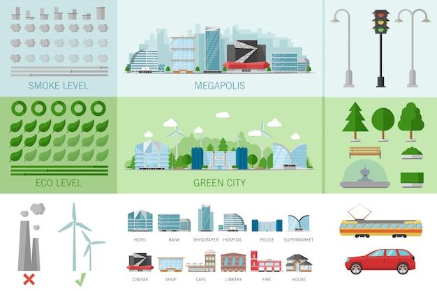 Infografica di edifici della città