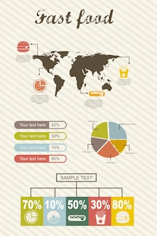 Infografica di illustrazione vettoriale stile fast food vintage