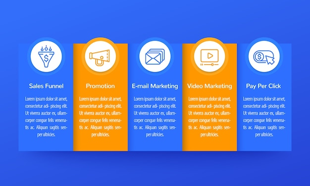 Infografica di marketing digitale, design di banner con icone