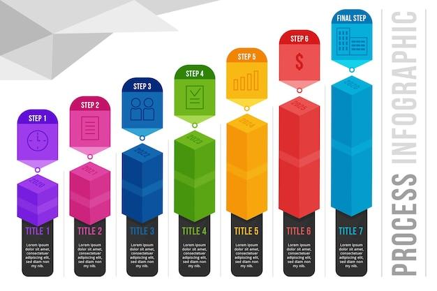Infografica di processo piatta