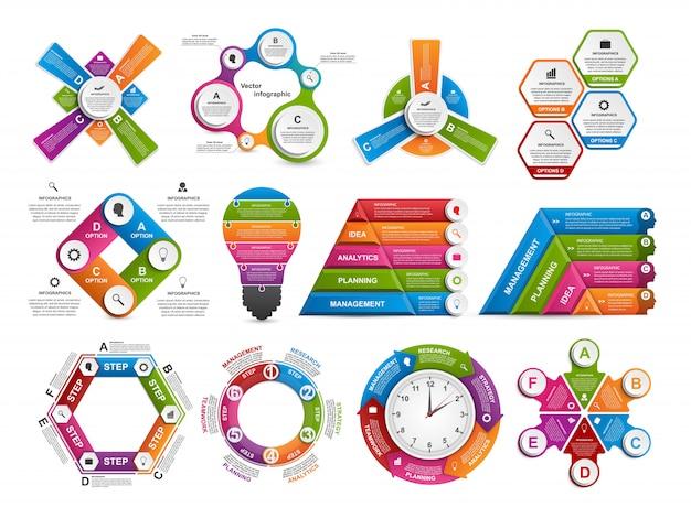 Infografica di raccolta. elementi di disegno vettoriale.