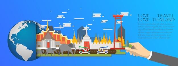 Infografica di thailandia, globale con punti di riferimento di bangkok