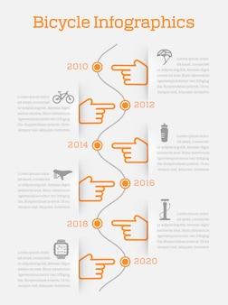 Infografica di timeline infografica con icone di elementi e accessori di bici