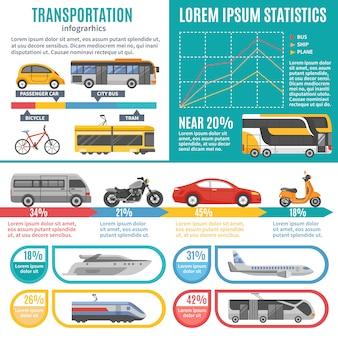 Infografica di trasporto pubblico e individuale