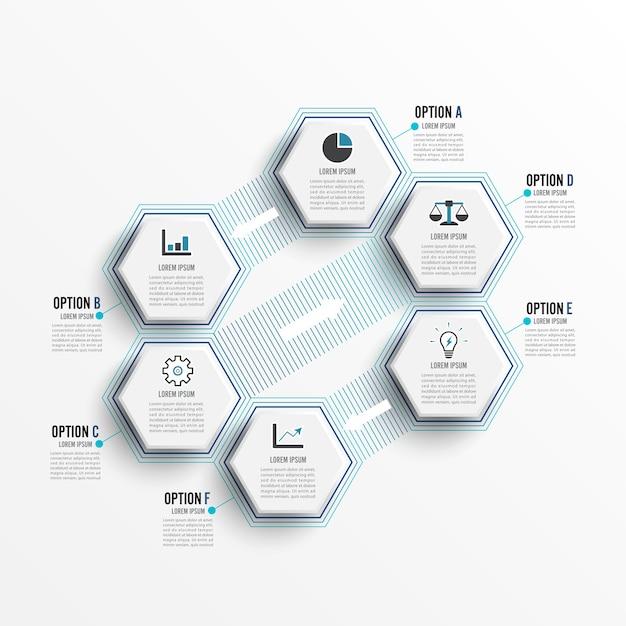 Infografica di vettore 6 opzioni.