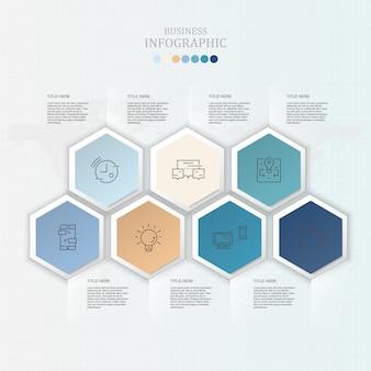 Infografica e icone per il concetto di business presente.