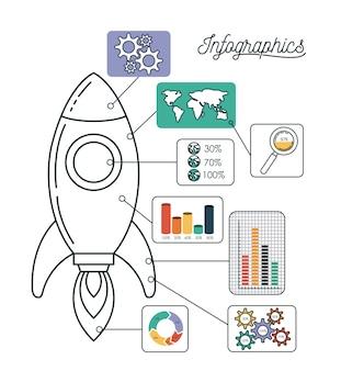 Infografica e statistiche con veicoli spaziali