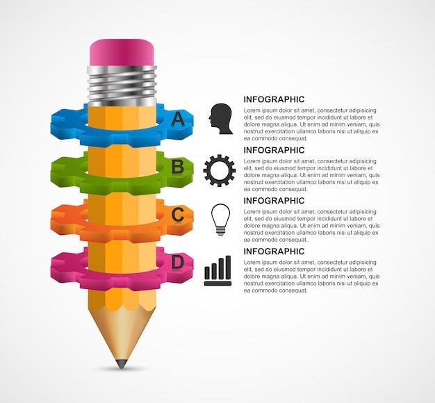 Infografica educativo con una matita e ingranaggi.