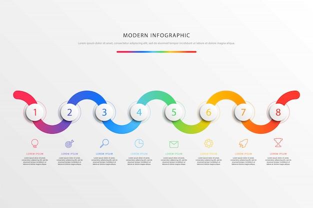 Infografica flusso di lavoro timeline con realistici elementi rotondi 3d e icone di marketing linea piatta