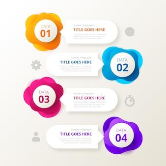 Infografica forma gradiente e caselle di testo
