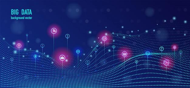 Infografica futuristica di grandi flusso di dati.
