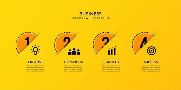 Infografica gialla con quattro opzionali, comunicazione dati contorno per rapporto d'affari