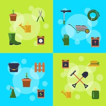 Infografica icone giardinaggio piatto