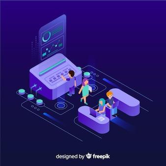 Infografica isometrica con grafici e persone