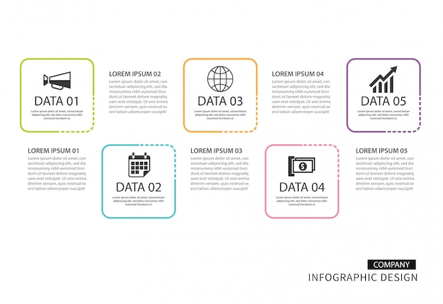 Infografica linea sottile quadrata con 5 modelli di dati