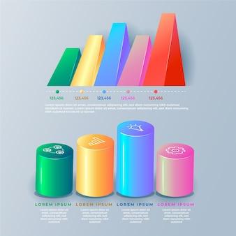 Infografica lucida 3d colorato con forme diverse