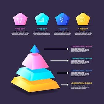Infografica lucida 3d colorato con passaggi