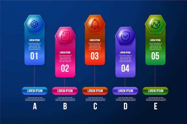 Infografica lucida 3d colorato