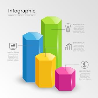 Infografica lucida di affari 3d