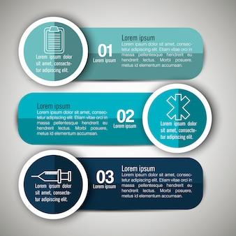 Infografica medica con tre passaggi