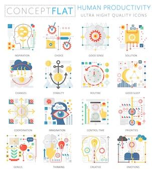 Infografica mini concept icone di produttività umana per il web.