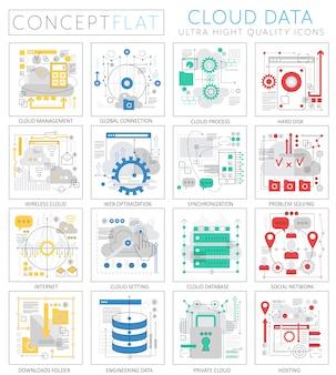 Infografica mini concept set di icone premium dati cloud