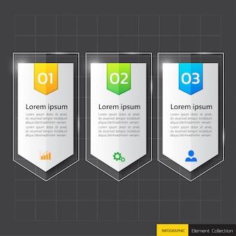 Infografica modello di 3 passi in vetro o stile lucido