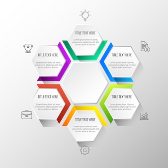Infografica moderna a colori con tavolo 3d
