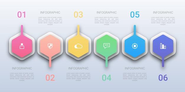 Infografica moderna a sei opzioni