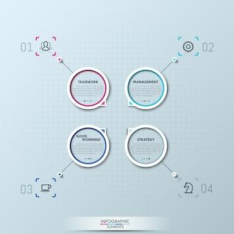 Infografica moderna con quattro elementi circolari