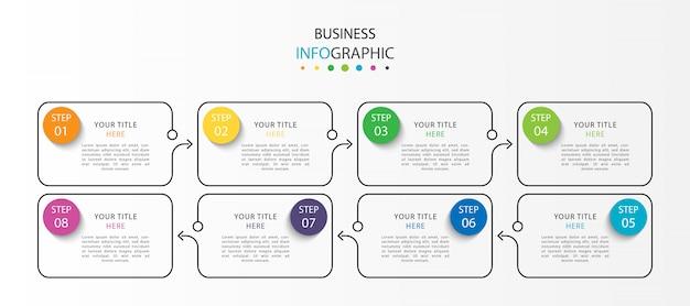 Infografica moderna con sette passaggi o opzioni