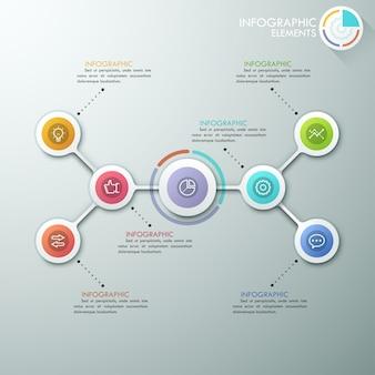 Infografica moderna flowchart o mindmap