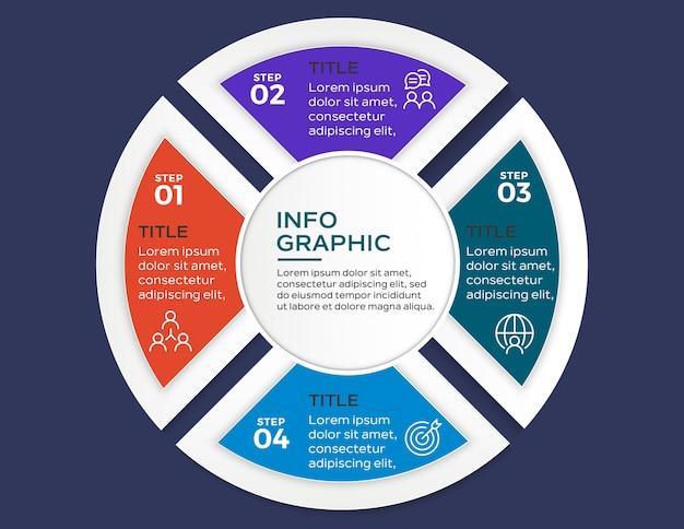 Infografica multicolore con 4 passaggi di opzioni