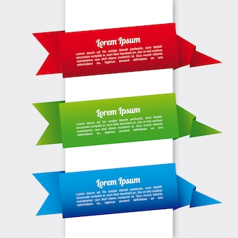 Infografica nastri su sfondo bianco