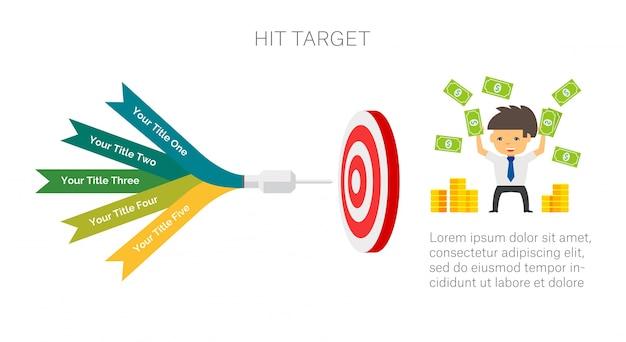 Infografica obiettivo con cinque elementi