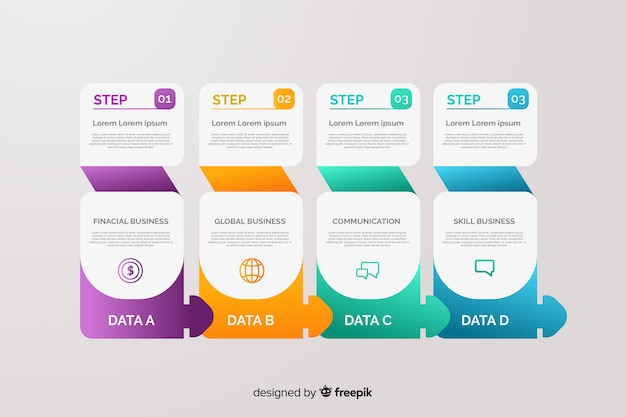 Infografica passaggi gradiente